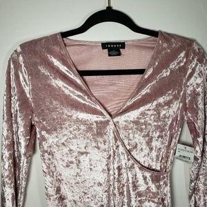 NWT Trouve Pink Crushed Velvet Bodysuit Size XS